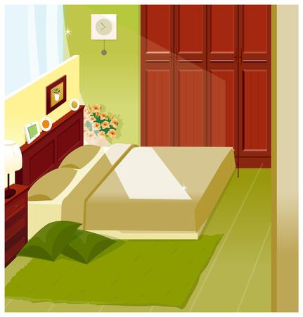 headboard: Bedroom Interior Illustration