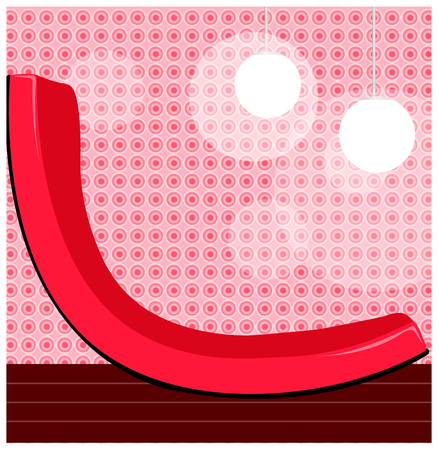 a red chair in the room. Illustration