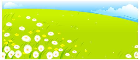 Bloemen met groen landschap Stock Illustratie