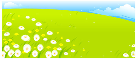 flowers with green landscape Illustration