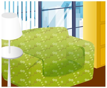 couches: There are green couches and white lamp in the office.