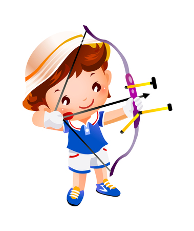Boy with a toy bow and arrow top Illustration