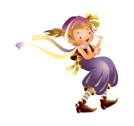 Girl flying Illustration