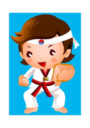 Kick of martial artist Illustration
