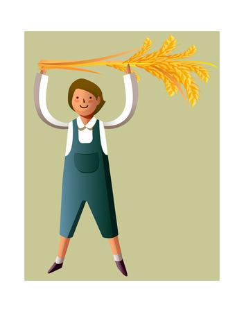 clip art wheat: Portrait of boy holding grain stalks Illustration