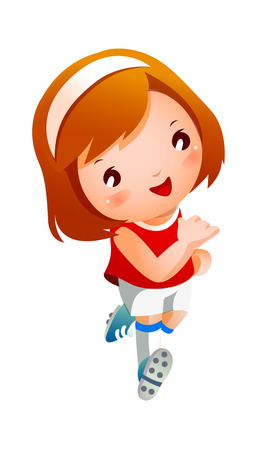 Girl sport player running Illustration
