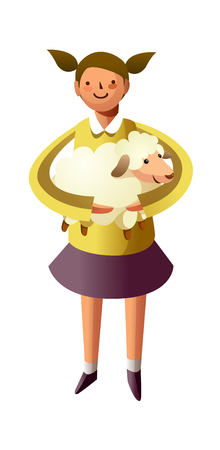 one girl only: Portrait of girl holding sheep in hand Illustration