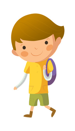 out of shape: Portrait of happy boy with school bag