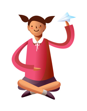 Portrait of girl holding paper plane Illustration
