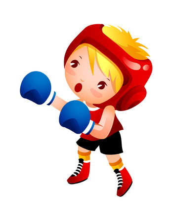 Girl with boxing glove Illustration