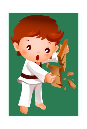 Boy breaking a board using karate Illustration