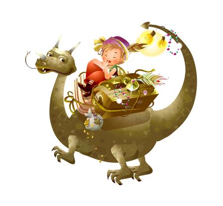 Boy riding a dinosaur