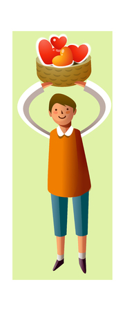 Portrait of boy holding hearts in basket