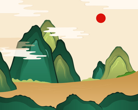 chinese new year card: Korean traditional holidays themed vector illustration - newyear, mountain