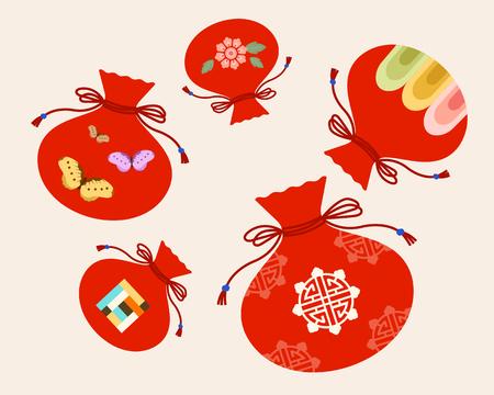 Ilustración vectorial temática de vacaciones tradicionales coreanas - año nuevo, luckybag