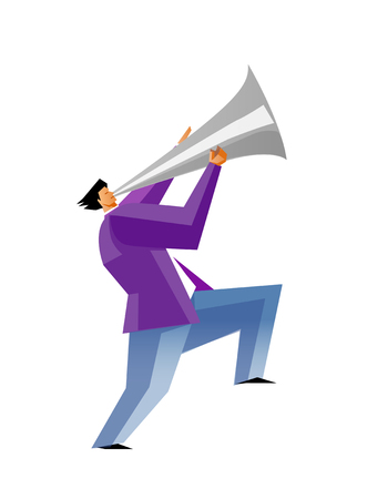 Side view of man holding megaphone Illustration