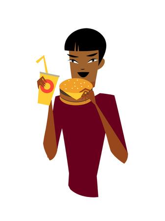 Close-up of man eating burger Illustration