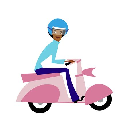 Side view of man on scooter Illustration