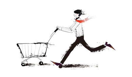 Side view of man pushing a cart Illustration