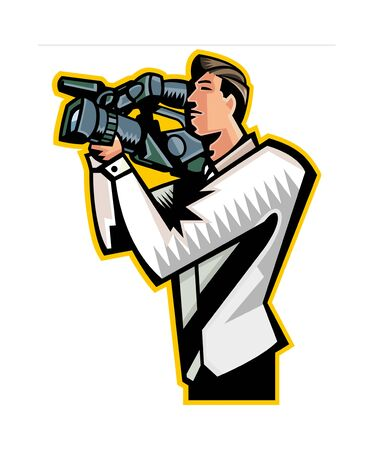 Side view of man holding video camera Illustration