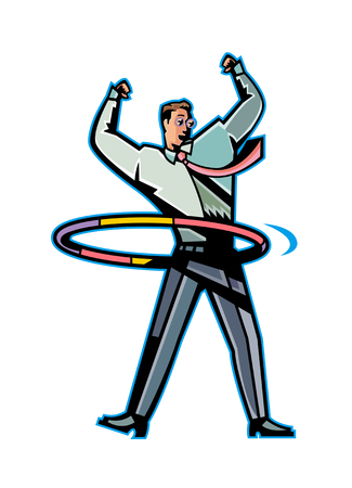 hula hoop: Close-up of man playing with ring Illustration