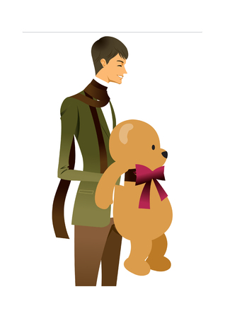 Side view of man holding teddy bear Illustration