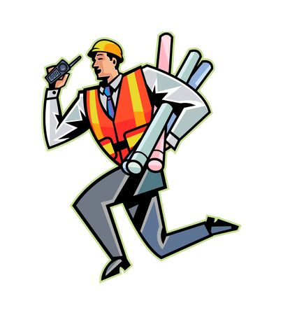 safty: Side view of man running with paper Illustration