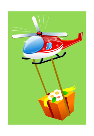 A view of a helicopter with gift vector icon. Illustration