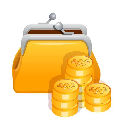 billfold: Icon purse and cash. Illustration