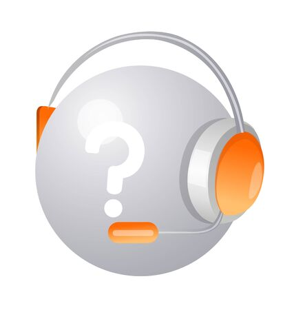 Icon of a headphone with question mark.