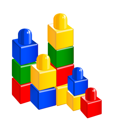 Icon of a colorful toy block. Illustration