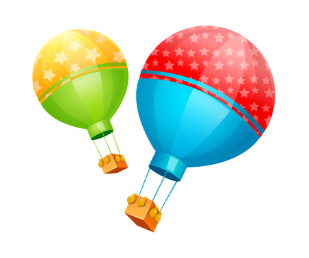 Icon of a hot air balloon. Illustration