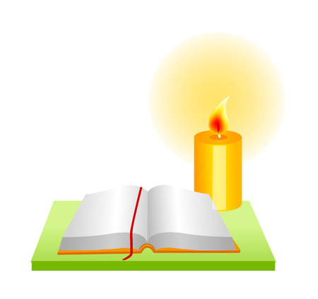 the scriptures: Icon of an open book and candle. Illustration