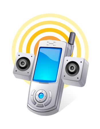 vector icon mobile phone and speaker