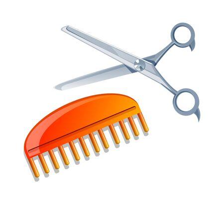 scissors icon: vector icon scissors and comb Illustration