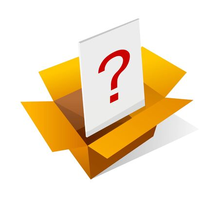Icon box and question mark on white color. Illustration
