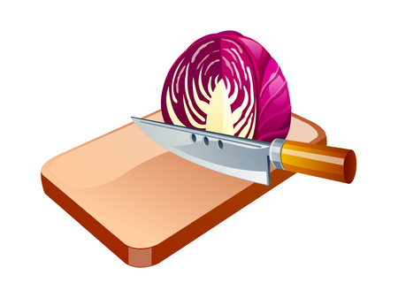 vector icon cabbage and knife Illustration