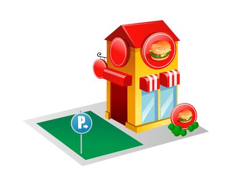 vector icon burger house Illustration