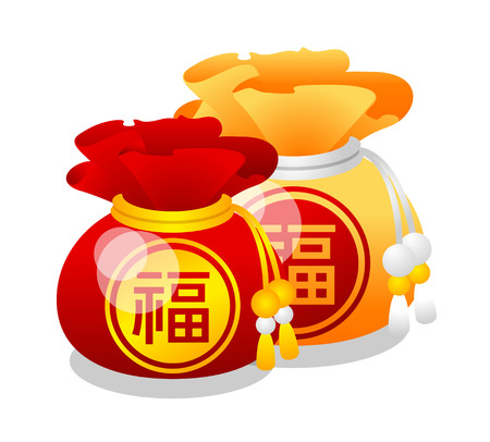 Icon Chinese fortune bags Imagens - 73548498