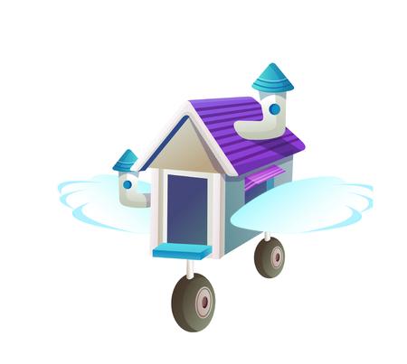 Icon moving shop on wheels Illustration