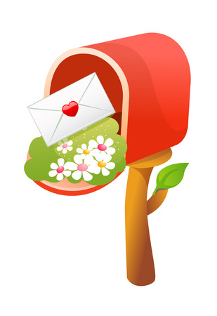 Red mailbox with envelope and flowers. Illustration