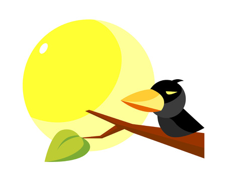 a bough: Icon of a bird on a branch Illustration