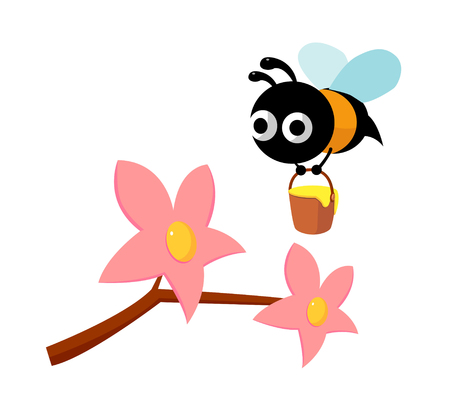 dwelling: Icon of a flower and bee Illustration