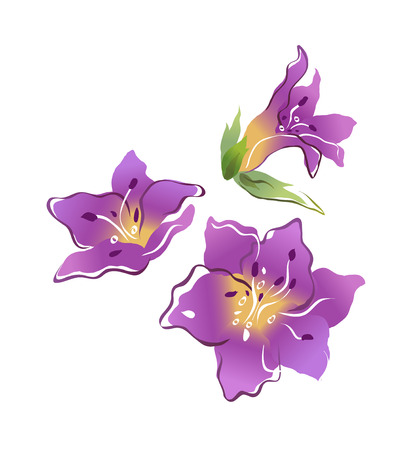 blade: 3 purple icon flowers. Illustration