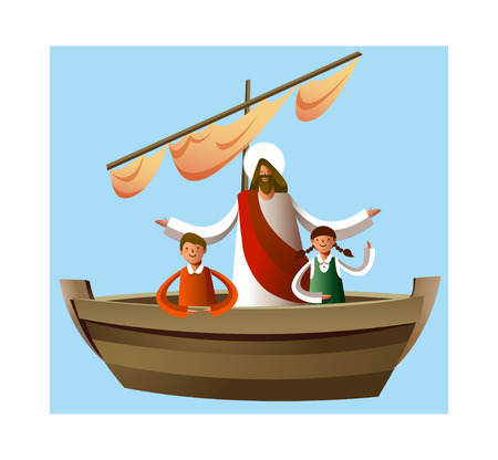 vector icon boat and jesus Illustration