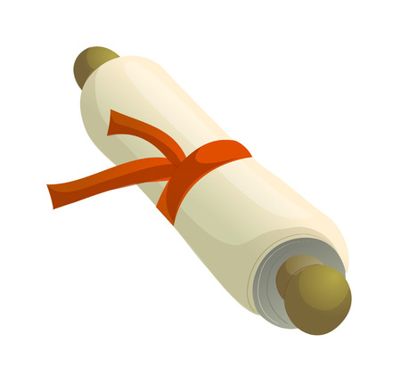 Hand drawn icon of rolled paper. Illustration