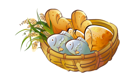 provisions: Hand drawn icon of a food in a basket.