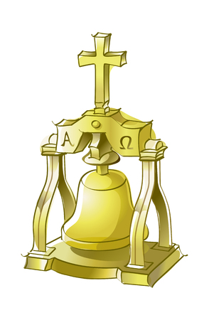 Beautiful hand drawn icon of a bell.