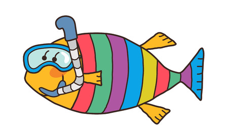 Cool Illustration of a colored fish. Illustration