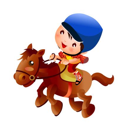reins: Cool riding child vector icon illustration. Illustration